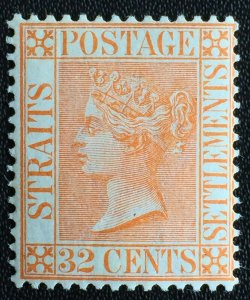 MALAYA 1887 STRAITS SETTLEMENTS QV 32c MLH CA SG#70 M2709