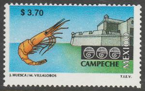 MEXICO 1972 $3.70 Tourism Campeche, shrimp, fortress. Mint, Never Hinged F-VF.