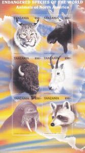 Tanzania # 1630G, Endangered Species - Animals of North America NH, Half Cat,