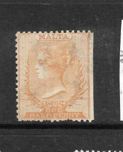 MALTA  1863-81  1/2d  ORANGE/BROWN   QV   MH  SG 6