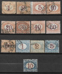 COLLECTION LOT OF #619 ITALY 13 POSTAGE DUE STAMPS 1870+ CV+$98