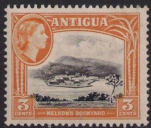 Antigua 1953 – 62 QE2 3ct Yellow & Black MM SG 123 ( L1372 )