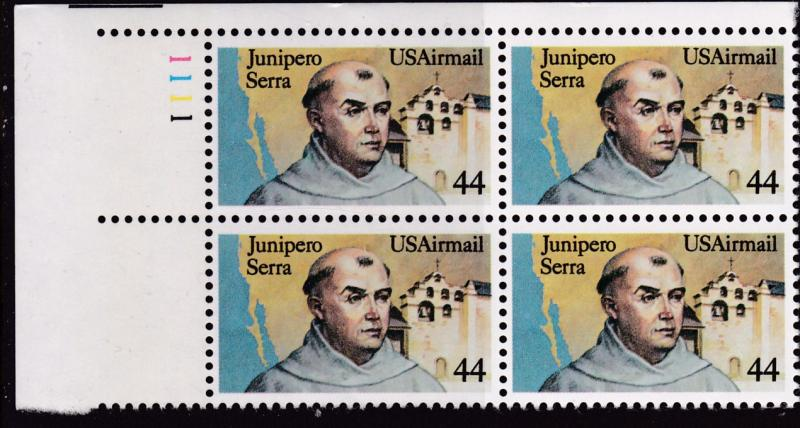 United States 1985 44cent Junipero Serra  Plate Number Block. VF/NH