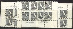 Canada - 1954 15c Gannet Plate Blocks (14) mint #343