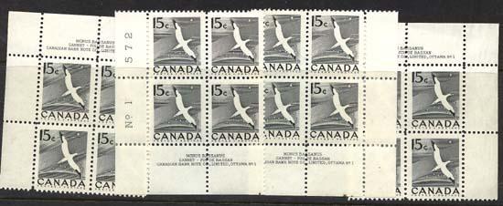 Canada - 1954 15c Gannet Plate 1 Blocks mint #343 Matched Set - VF-NH
