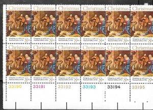 US#1444 -8c Christmas 1971 Plate block of 12 (MNH) CV $1.80