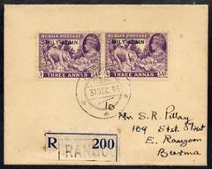 Burma 1945 KG6 neat reg cover bearing 2 x 3a (Teak indust...