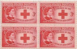 US 967 Clara Barton 3c block (4 stamps) MNH 1948