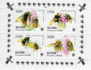 Komi Republic 1997 WWF BEES Sheetlet (4) Perforated MNH