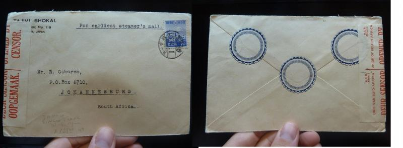 Japan 20S Mountain on Censor cover to South Africa, Steamer's Mail (30bel)
