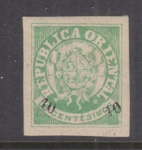 URUGUAY, 1866 10c. on 8c. Green, lhm.