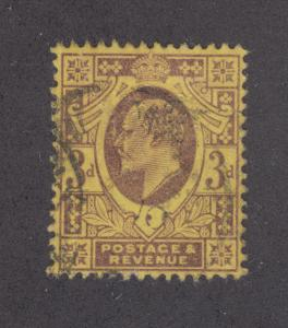 Great Britain Sc 132 used 1902 3p KEVII, perfin 5B/CF w/ Inverted Characters