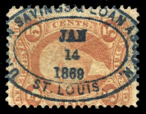 B487 U.S. Revenue Scott R24c 5c Certificate, bold 1869 blue oval bank cancel