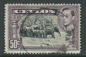 Ceylon George VI  SG 394c perf 14 Used light corner bend ...