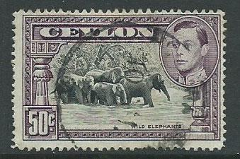 Ceylon George VI  SG 394c perf 14 Used light corner bend ...