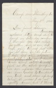 COVER - CSA SOLDIERS LETTER (May 2, 1864) - Talks about Camp & Moving (2nd Corp)