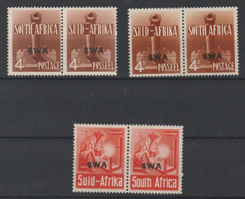 SOUTH WEST AFRICA 1941 WAR EFFORT 4D BOTH SHADES AND 6D PAIRS */**