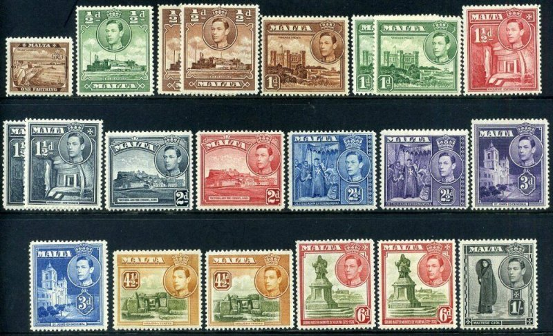 Malta 1938 KGVI SG217 to SG226 Part set Mounted Mint x21 stamps
