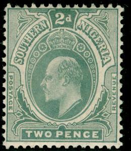 SOUTHERN NIGERIA SG35, 2d greyish slate, LH MINT.