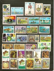 Grenada Collection of 33 Different 1970's Stamps MNH
