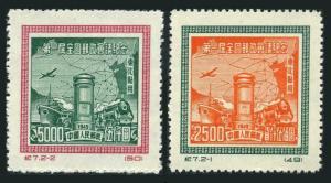 China Northeast 1L162-163 reprint,hinged.Mi 184-185-II. 1950.Communications,Map.