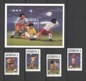 U0815 1986 DOMINICA SPORT FOOTBALL WORLD CUP MEXICO OVERPRINT #988-1 BL+SET MNH