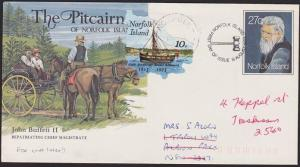 NORFOLK IS 1983 Uprated 27c envelope used later to Australia................6497