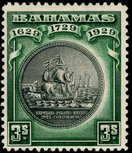 BAHAMAS SG130, 3s black & green, VLH MINT. Cat £48.