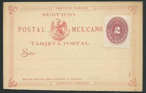 MEXICO Early 2c postcard unused, Formular card + 2d adhesive...............66236