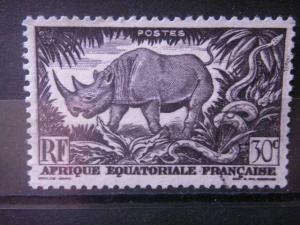 FRENCH EQUATORIAL AFRICA, 1946, used 30c, Scott 167, Rhinoceros