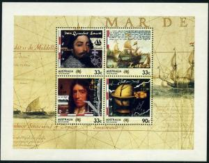 Australia 952a sheet,MNH.Michel Bl.8. Explorers 1985.Abel Tasman,The Eendracht,