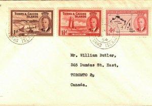 TURKS & CAICOS KGVI Cover Canada Toronto 1954 {samwells-covers} PB220