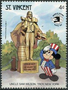 Saint Vincent 1989. Disney Characters. Uncle Sam Wilson, Troy, NY (MNH OG) Stamp