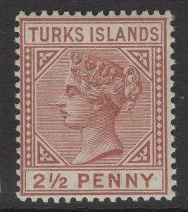 TURKS ISLANDS SG56 1882 2½d RED-BROWN DIE I MTD MINT