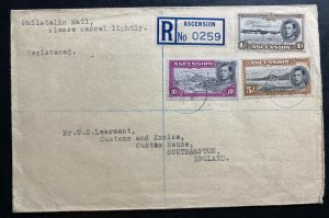 1949 Ascension Registered Cover To South Hampton England Sc#46 48 49