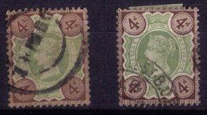 Great Britain Sg 205-205a Shades(Scott #116)UsedGreenPurple Brwn/Drk Purp.Brown
