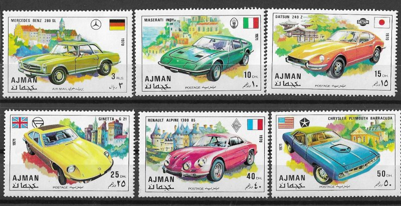 Ajman MNH Set Of 6 Sports Cars VROOOOOM!!!!!