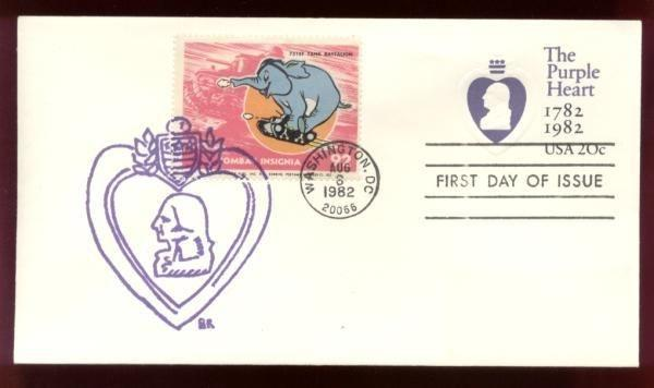 751st Tank Batalion Poster Stamp on Purple Heart #U603 FDC