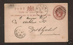 Cape of Good Hope H&G 2 used 1893 1p Queen Victoria Postal Card VF