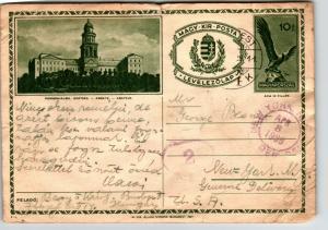 Hungrary 1938 Postal Card to USA / Creasing / Edge Tears - Z13584