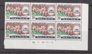 MALACCA, MALAYSIA, 1965 Orchid 20c., Plate # block of 6, mnh.