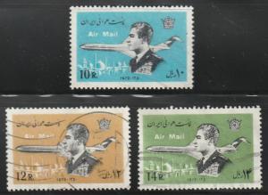 Persian stamp, Scott# C92-C94, used, 3 stamps,Shah and airplane, jet, #C92-C94
