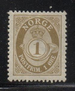 Norway Sc 47 1899 1 ore gray Posthorn stamp mint
