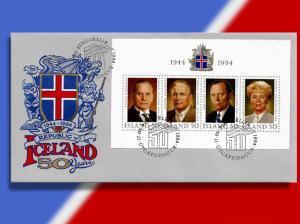 Iceland Souvenir Sheet Celebrates 50 Years of Republic - Honors 4 Presidents!