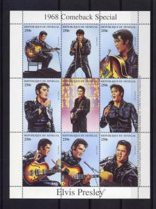 Senegal 1999 Sc#1350  Elvis Presley Comeback Sheetlet (9) Perforated MNH