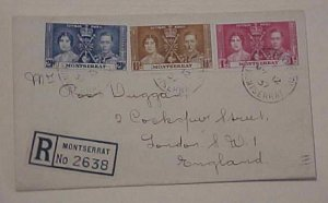MONTSERRAT FDC KING GEORGE VI REGISTERED 1937