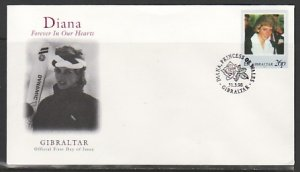 Gibraltar, Scott cat. 754a. Lady Diana value on a First Day Cover. ^