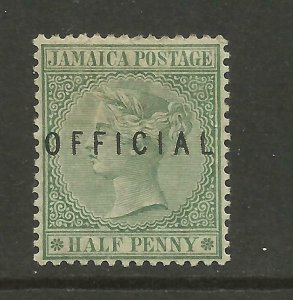 JAMAICA 1890/1 Sg O1, 1/2d Green Official (type 1) LM/Mint with gum. {B6-30}