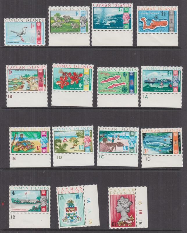 CAYMAN ISLANDS, 1969 QE denitives set of 15, mnh., some with Plate #'s.