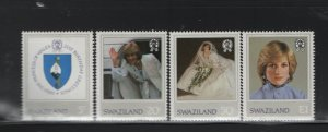 SWAZILAND 406-409 (4) Set, Hinged, 1982 Princess Diana Issue
